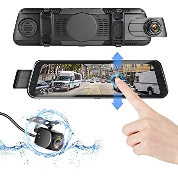 DUTERI D Mirror Dash Cam Rear View Camera Cars Video Backup Parking 24H's Monitor with Night Vision G-Sensor Waterproof 170°HD 1080P 9.66