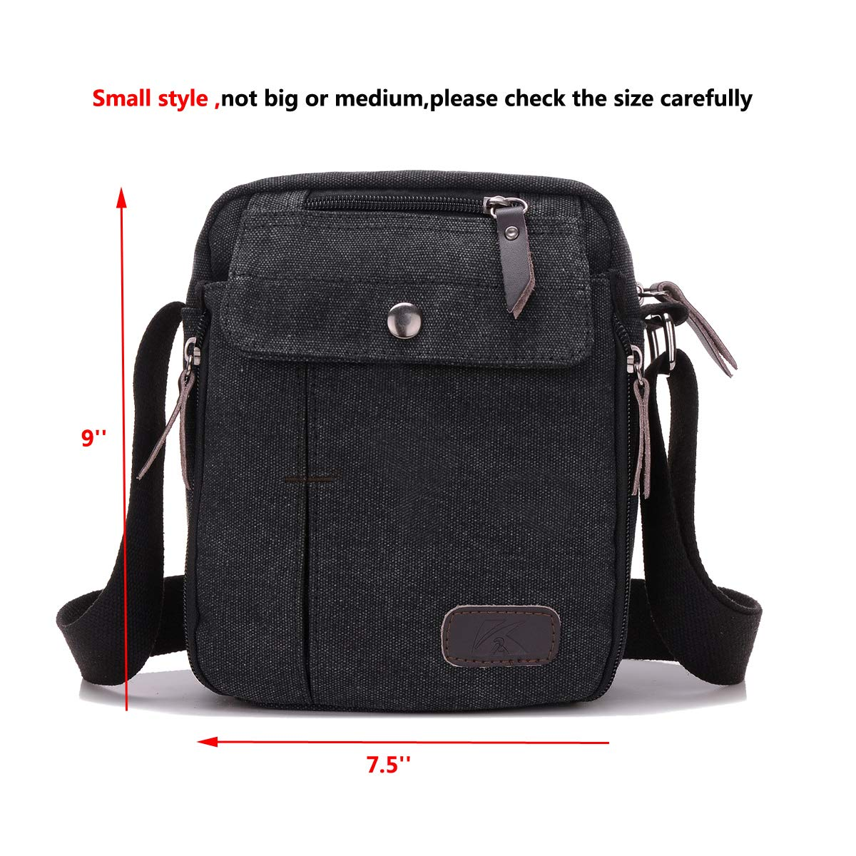 Heavy-Duty Canvas Small Messenger Bag Classic Multi-pocket Mini Shoulder Crossbody Bags Travel Purse by Haoguagua (Image #3)