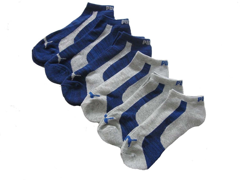 6 Pair Men's Puma Low Cut Athletic Sport Socks (Gray/Royal Blue Striped)