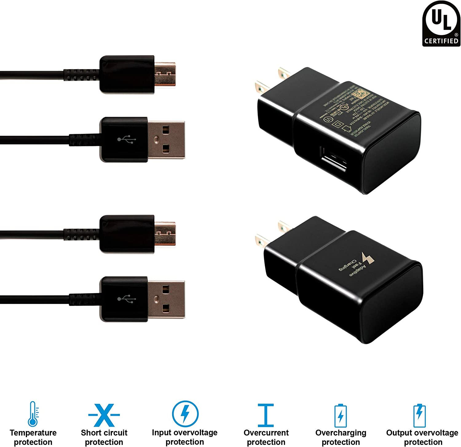 2 Pack Adaptive Fast Charger 6.6 ft Type C (Wall Charger+Type C USB Cable) Compatible with Samsung Galaxy S8 / S8+ / S9 / S9+ / S10e / S10 / S10+ / Note8 / Note 9 / LG G8 (Black): Home Audio & Theater