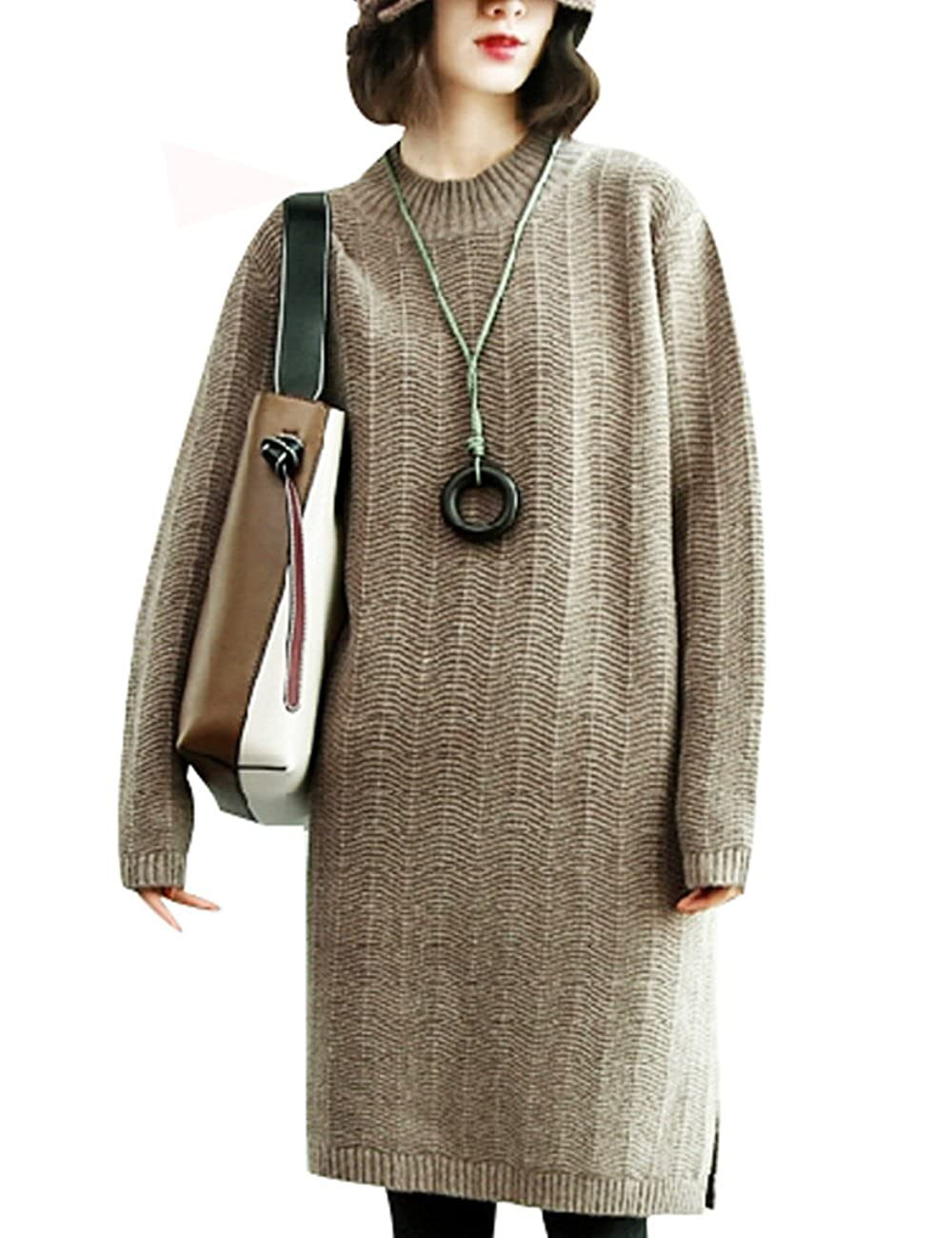 Grey coffee Zoulee Women's Round Collar Wave Knit Wool Sweater