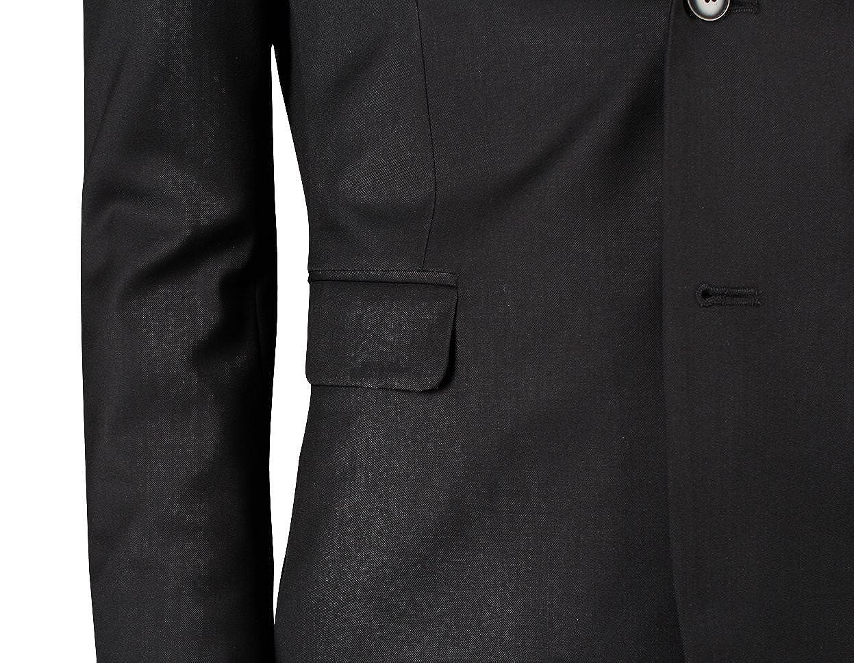 JEJEhomme Slim Fit Mens Suits Two Button Jacket Pants Set Solid Black