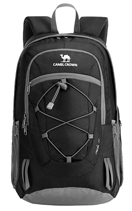 bc895904cb2f CAMEL CROWN 30L Lightweight Hiking Backpack Outdoor Trekking Durable Travel  Daypack 30L (Black-1