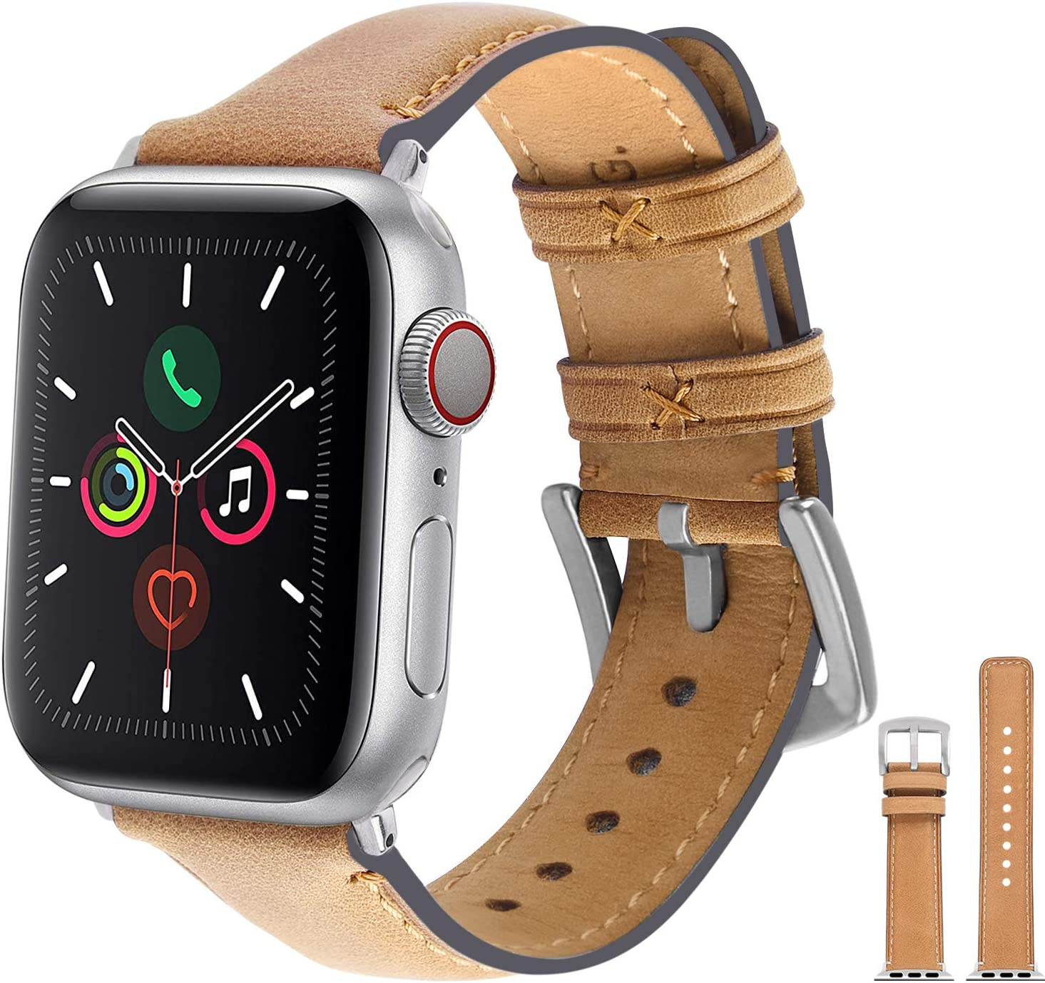 Fullmosa Leather Watch Strap Compatible with Apple Watch Band 38mm 40mm 42mm 44mm, Genuine Leather Replacement Band Compatible with Apple Watch Series 5, Series 4,Series 3,Series 2,Series 1 Men Women