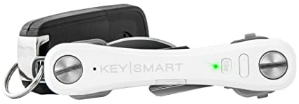 KeySmart Pro - Compact Key Holder w LED Light & Tile Smart Technology, Track your Lost Keys & Phone w Bluetooth (up to 10 Keys, White)