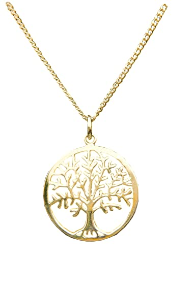 a62fb7b33 ANTOMUS® 18ct YELLOW GOLD VERMEIL SILVER TREE OF LIFE YGGDRASIL ADJUSTABLE  NECKLACE Diamond Cut Curb 50(1.75mm Gauge)
