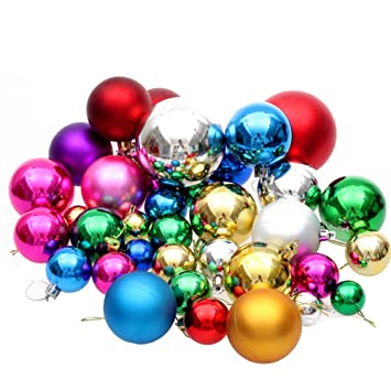 Amazon.com: Multi-color Shiny & Matte Shatterproof Christmas Trees ...