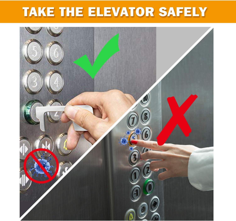 Ouvre-porte Sans Contact,Ferme-porte Pas touche EDC Hygiene,Portable Polyvalent Sant/é Outil cl/é pour ouvrir//fermer la porte,Cliquez sur bouton de l/él/évateur 2 Pack Gardez la main propreAscenseur