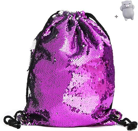 Smiggle Violet avec cordon de serrage sac avec poche brillant avec licornes NOUVEAU