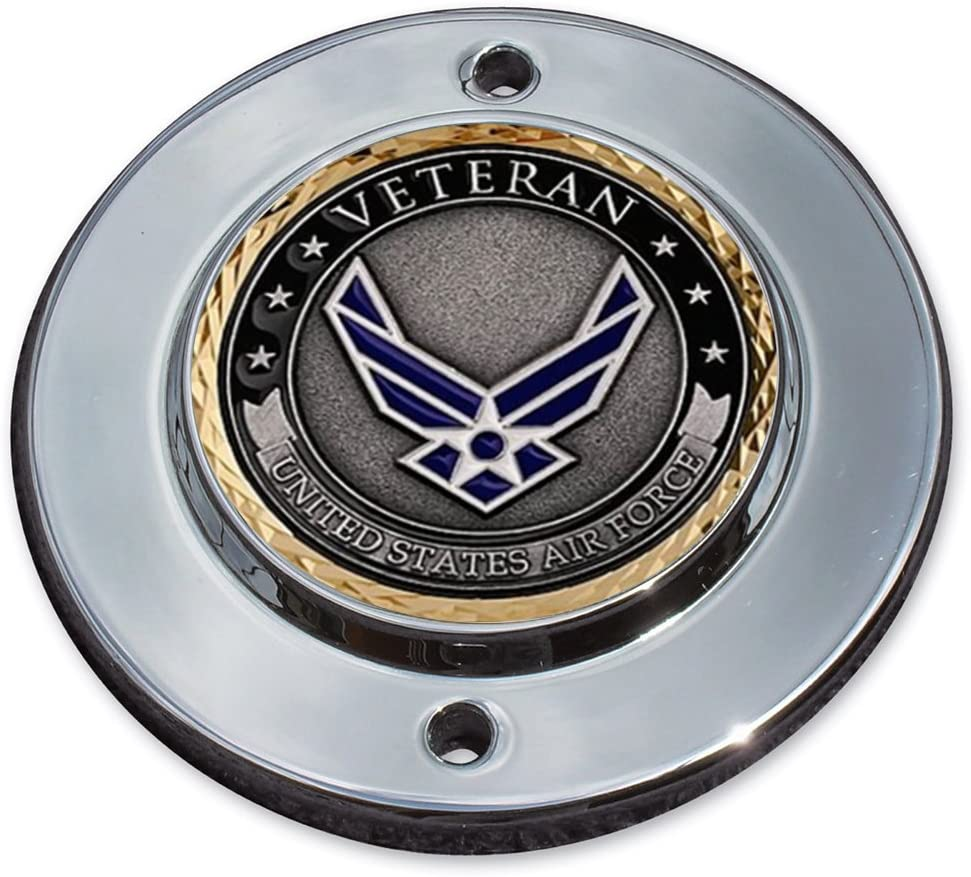 MotorDog69 Air Force Veteran Harley Sportster And Evo 2-Hole Timing Cover Coin Mount Set