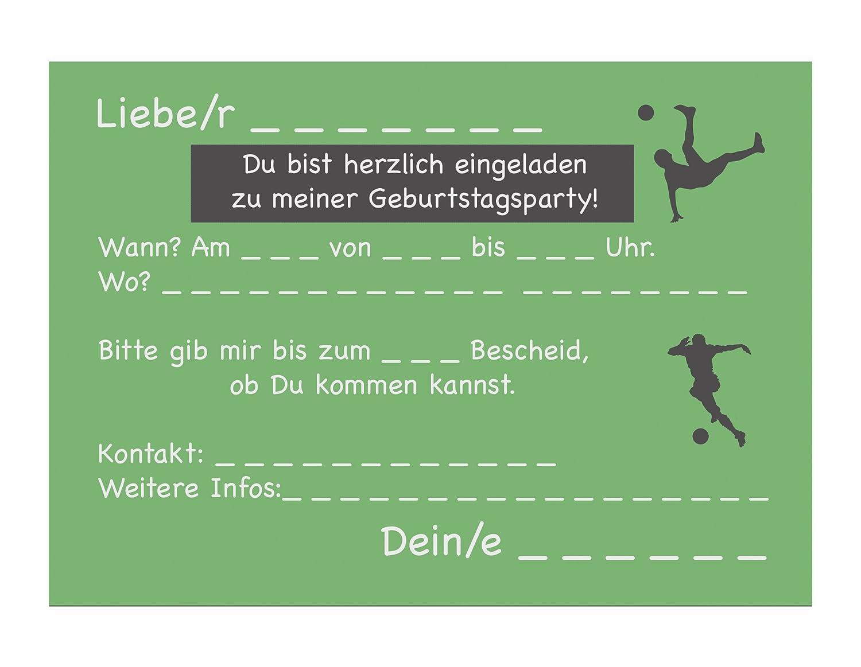 Set 15 Einladungskarten Kindergeburtstag Fussball