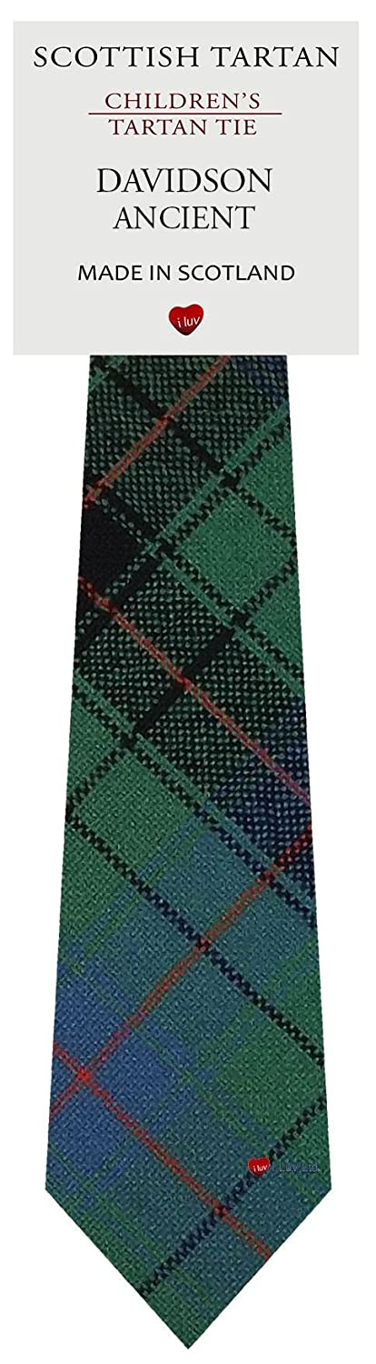 Boys Clan Tie All Wool Woven in Scotland Davidson Ancient Tartan I Luv Ltd