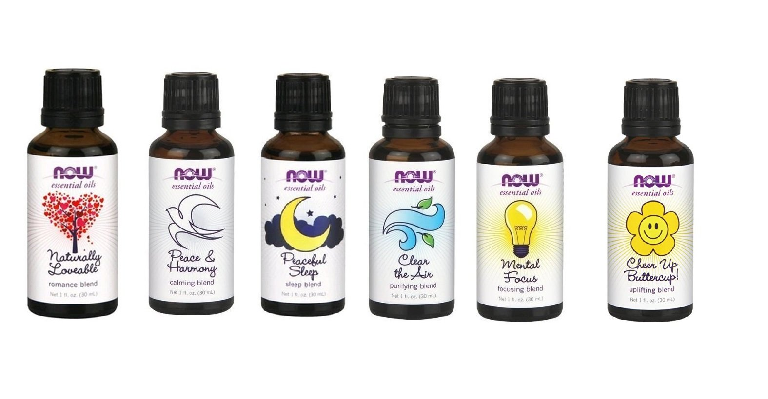 A Complete Set of Blend Oils From Now Foods (6) - Romance, Peace, Sleep, Clear the Air, Mental Focus and Cheer up Buttercup by NOW Foods
