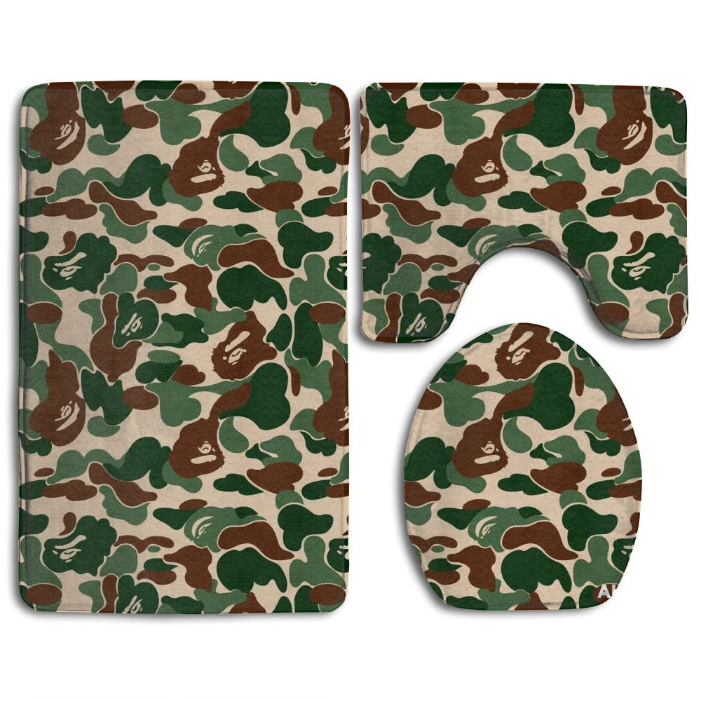 Ttrsudddsyy Aniaml Bape Camouflage Green Home Set Of 3 Soft Bath Rug Non-slip Bathroom Shower Mat