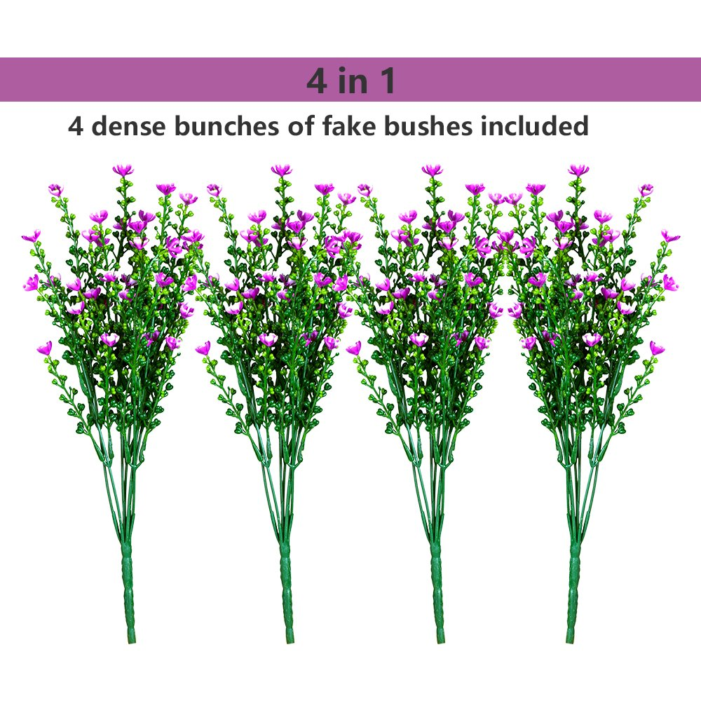 Artificial Flowers Plants, 4Pcs Faux Plastic Decorative Shrubs Plants Lifelike Bouquet Simulation Greenery Bushes Indoor Outside Home Garden Office Wedding Decor, Pink… by Rekome (Image #2)