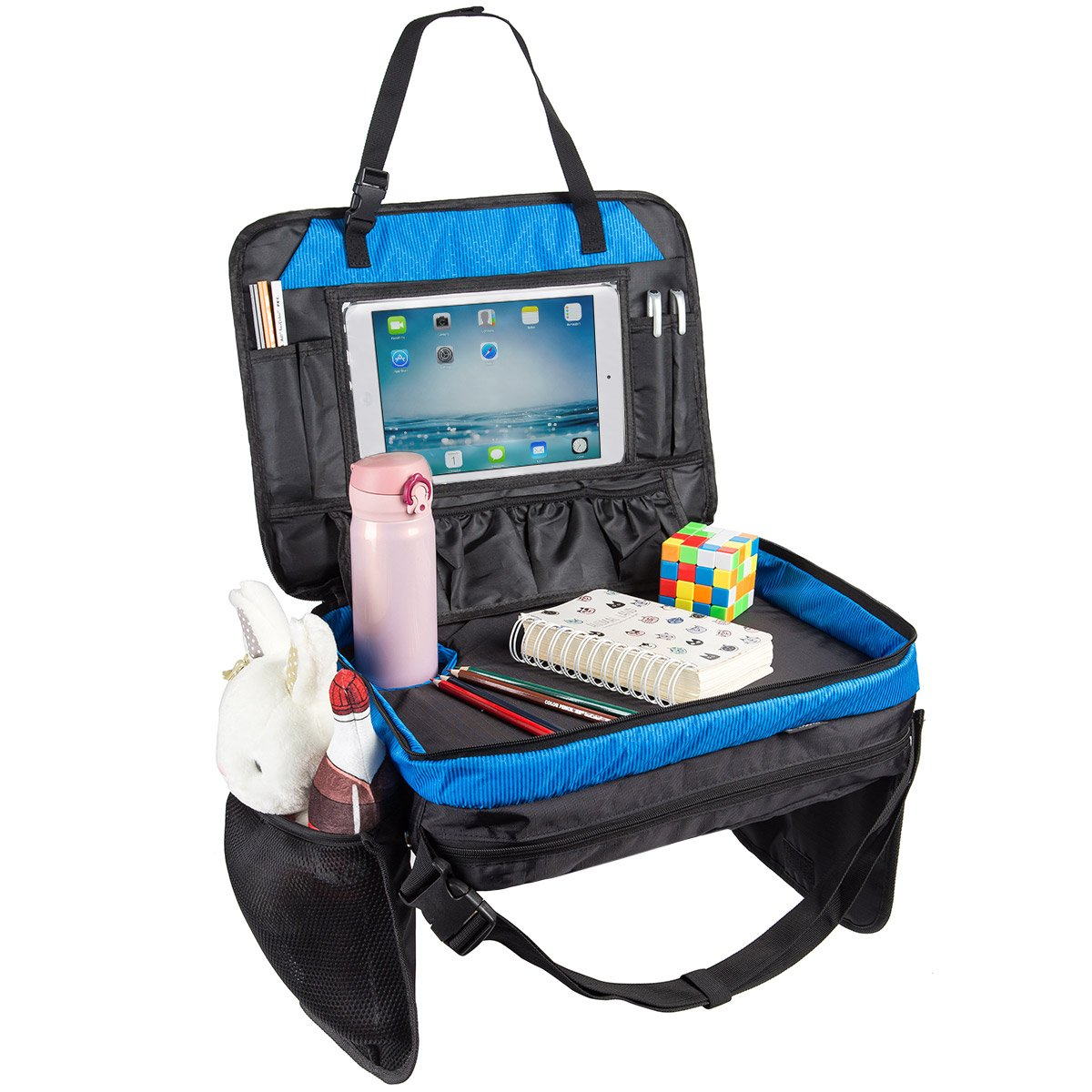 [Upgraded] Kids Travel Tray for Eat and Play Toddlers Backseat Organizer iPad & Tablet Holder 17 inch by 13 inch Large Mesh Side Pockets & Water Bottle Cup Holder