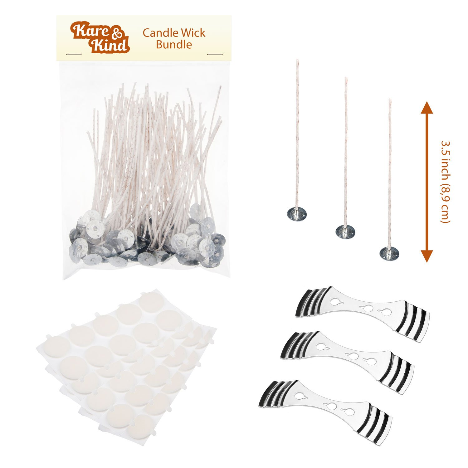 Candle Wick Bundle: 50 Candle Wicks, 50 Stickers and 3 Wick Holders - Easy Positioning - Wicks Coated With Natural Soy Wax, Cotton Threads Woven with Paper - Contains No Lead, Zinc or Other Metals Kare & Kind