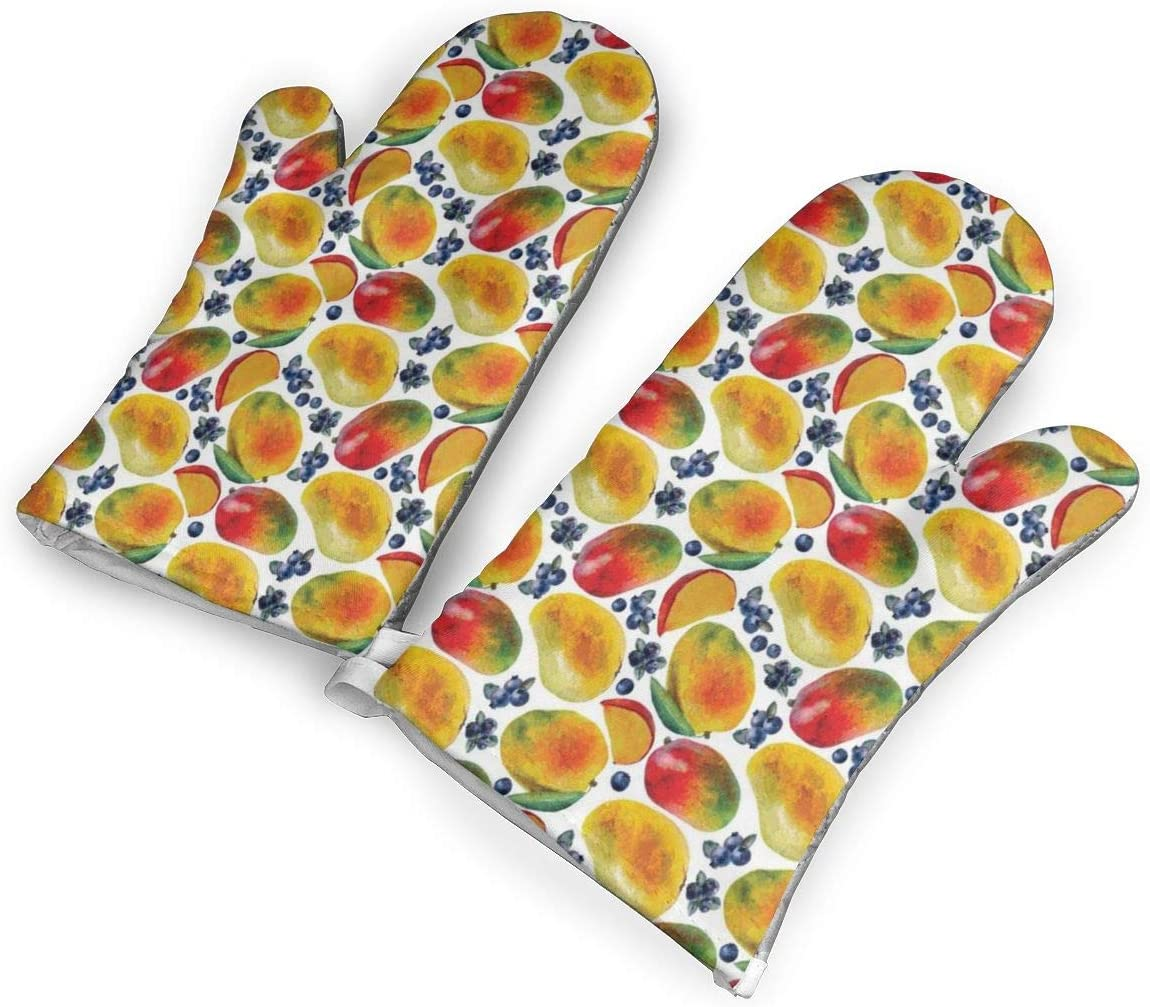 Victoria-Ai Mango and Blueberry Pattern Oven Mitts Premium Heat Resistant Kitchen Gloves Non-Slip Easy to Use Baking Mittens for BBQ/Cooking/Grilling