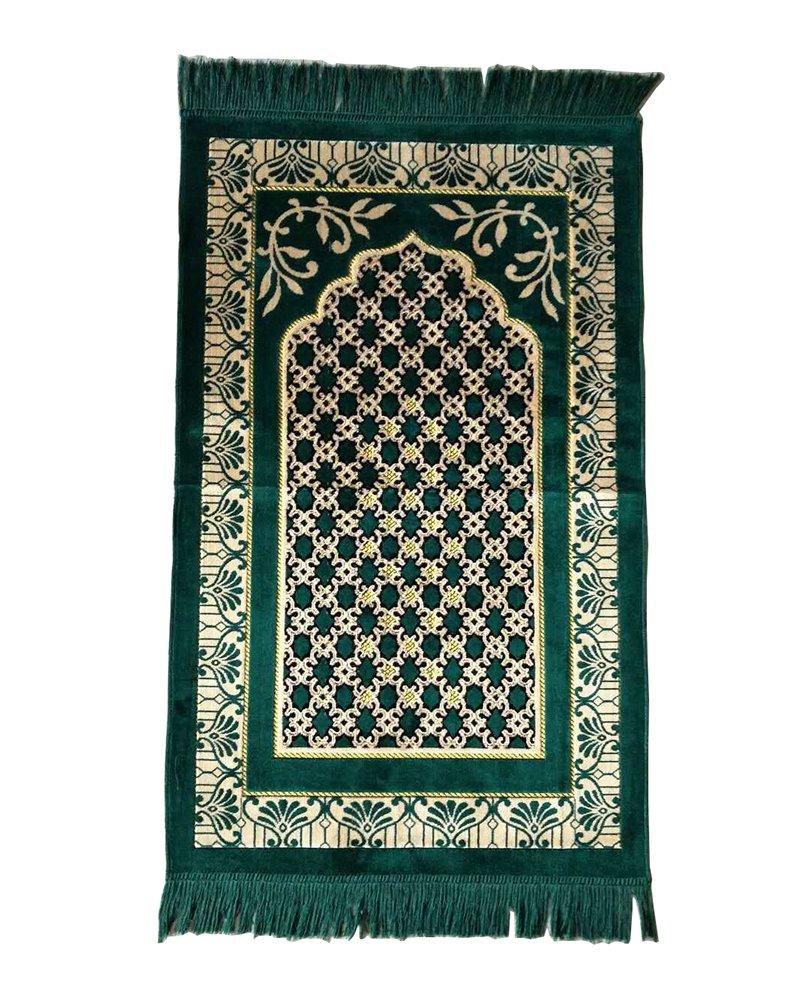Lopkey Middle East Carpet Islamic Prayer Blanket Rugs Prayer Mat 26 x 43 Inch, Green