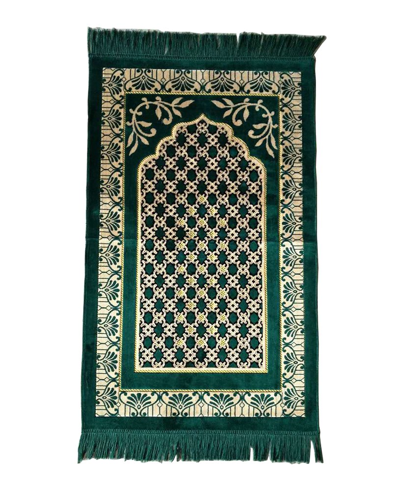 Lopkey Middle East Carpet Islamic Prayer Blanket Rugs Prayer Mat 26 x 43 Inch,Green