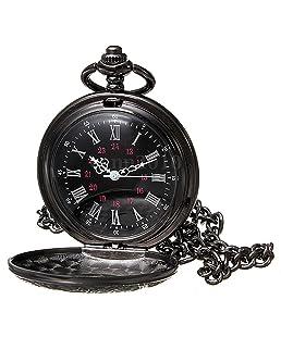 Reloj de bolsillo de collar - SODIAL(R)Reloj de bolsillo de colgant del cuarzo del collar de numeros romanos negro de steampunk de la vendimia Regalo
