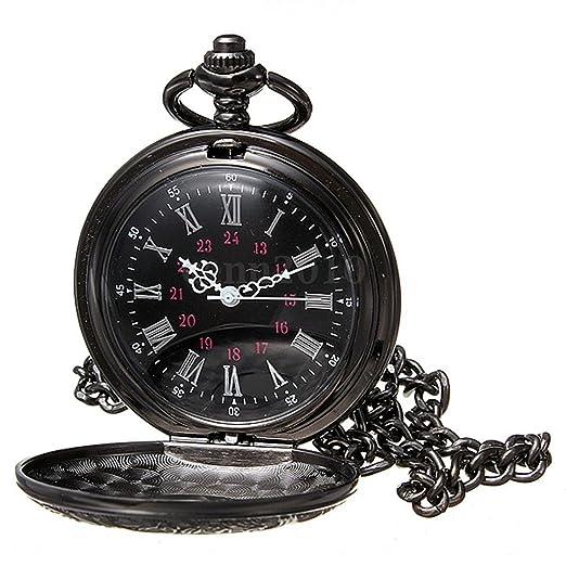 Reloj de bolsillo de collar - SODIAL(R)Reloj de bolsillo de colgant del cuarzo del collar de numeros romanos negro de steampunk de la vendimia Regalo: ...