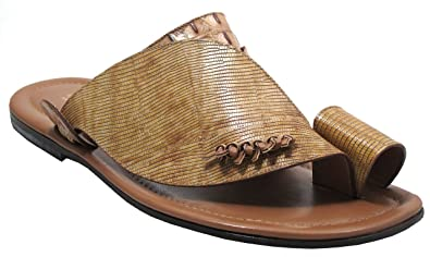 5c8f935fa049b Image Unavailable. Image not available for. Color  DaVinci Men s Italian  Leather Sandals Push Toe Beige 0182