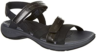 95563c2c4b2e1d Easy Spirit ESTINA Womens Black Flat Comfort Sandals (6 M