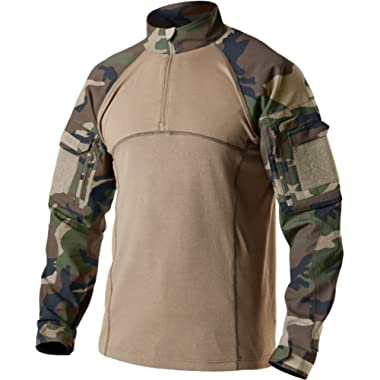 CQR Men's Combat Shirt Tactical 1/4 Zip Assault Military Top Camo EDC