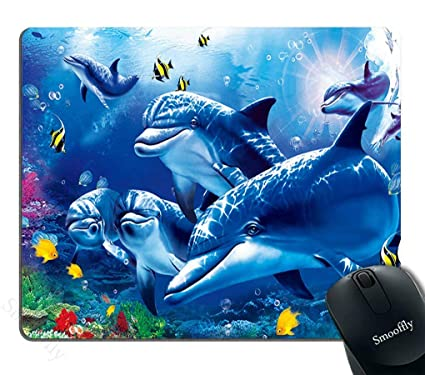 Smooffly Blue Mouse Pad Custom,Blue Sea World Coral Dolphin Printed Mouse Pad Personality Desings Gaming Mouse Pad