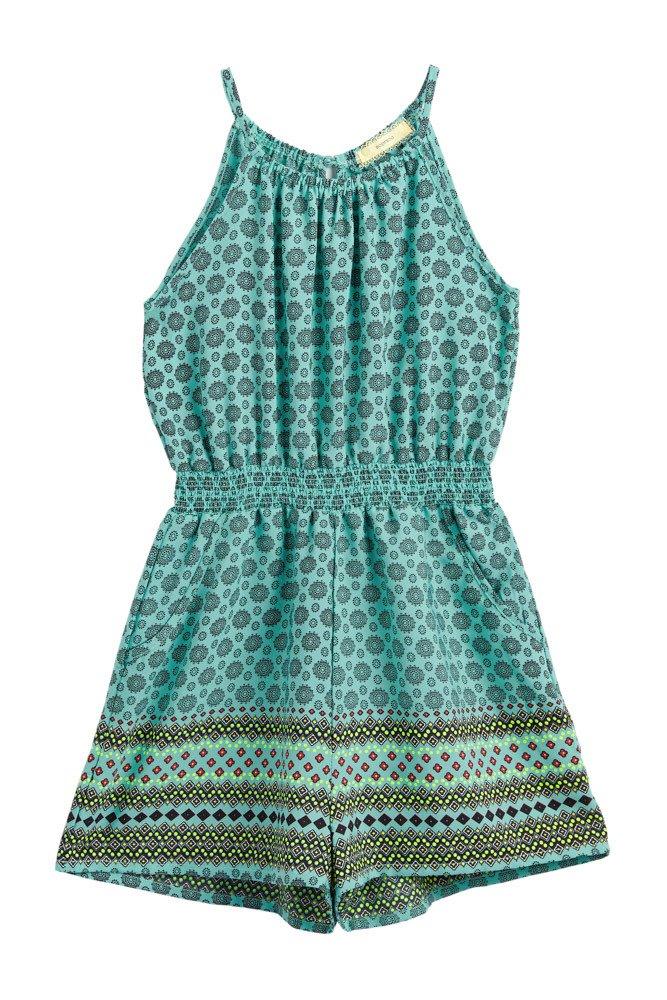 Big Girls Kids Floral Pockets Border Prints Halter Turquoise Comfy Romper Tur S