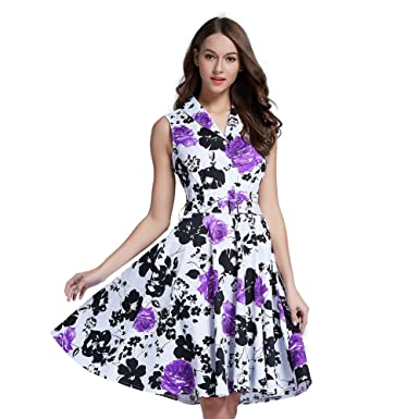 Fancyqube Womens Vintage V Neck 1950s Rose Floral Party Cocktail Dress Small Purple