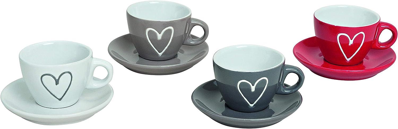 MC-Trend - Juego de 4 tazas de espresso con platillo con corazón