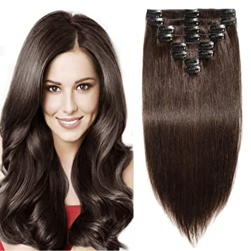 3af4d40c558 12 quot -22 quot  Extension a Clip Cheveux Naturel  2 CHATAIN FONCE - Double