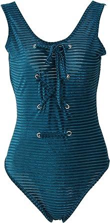 Leotardo De Verano Body Top para Mujer Moda con Cuello Redondo Sin Mangas Body Tops Camisa Casual Rayas Vendajes Leotard Tops Mono: Amazon.es: Ropa y accesorios