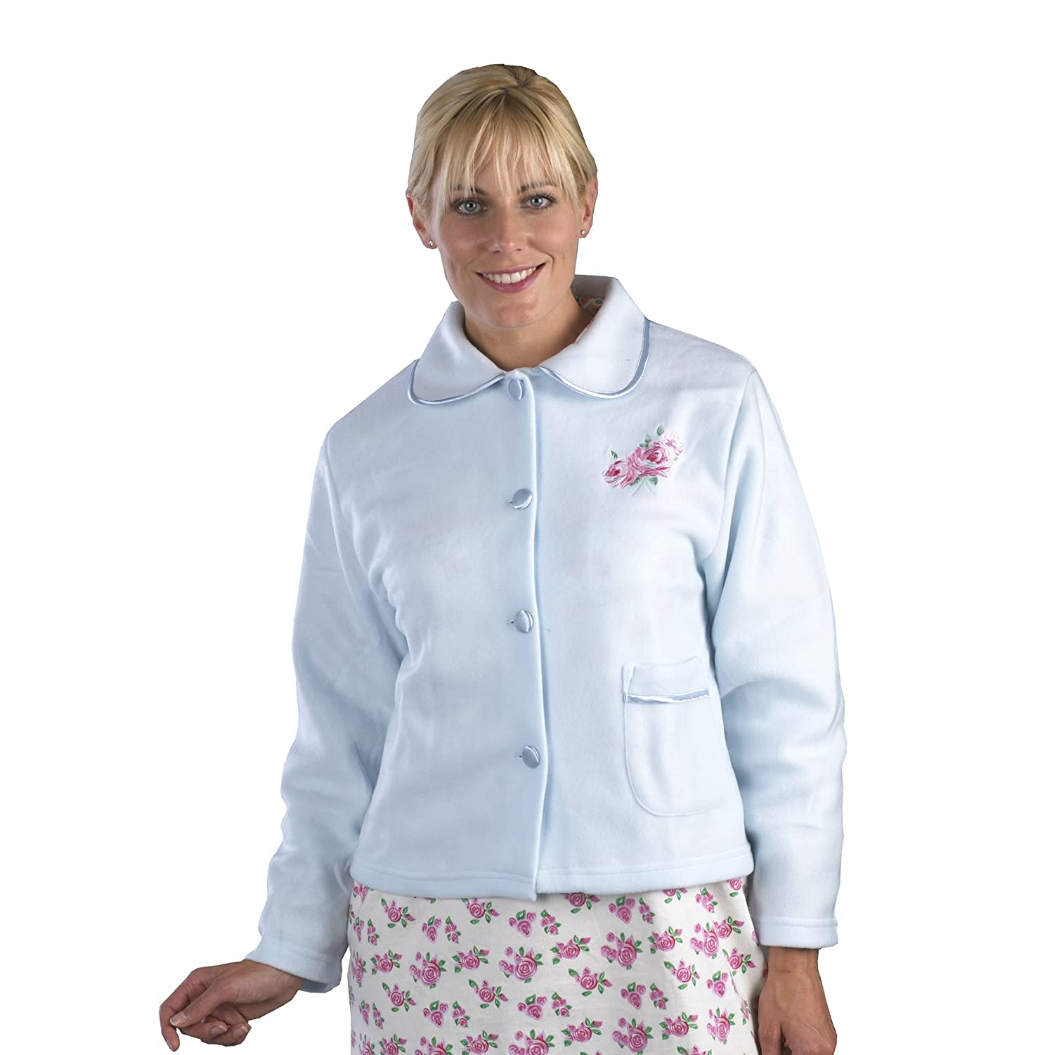 Pink, XXL Blue//Lilac//Pink Classical Luxurious Embroidered Bed Jacket