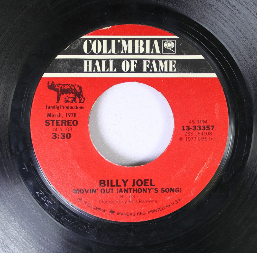 BILLY JOEL 45 RPM MOVIN' OUT (ANTHON'S SONG) / JUST THE WAY