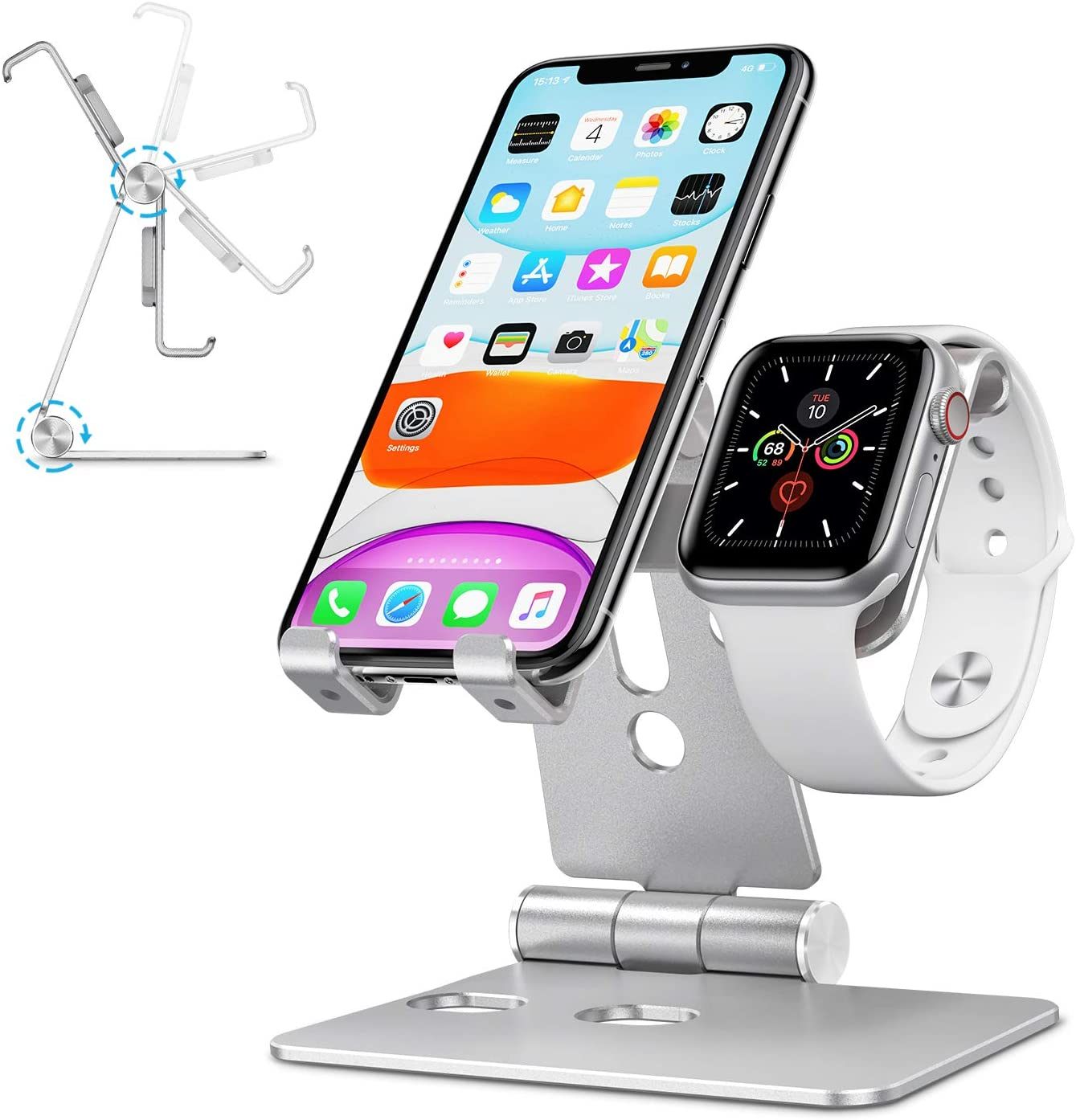 Apple Watch Charger Stand Accessories - OMOTON 2 in 1 Aluminum Foldable Desktop Charging Stand Holder Dock for nightstand Desk,Suit for Apple Watch SE/6/5/4/3/2/1, iPhone and Smart Phones, Silver