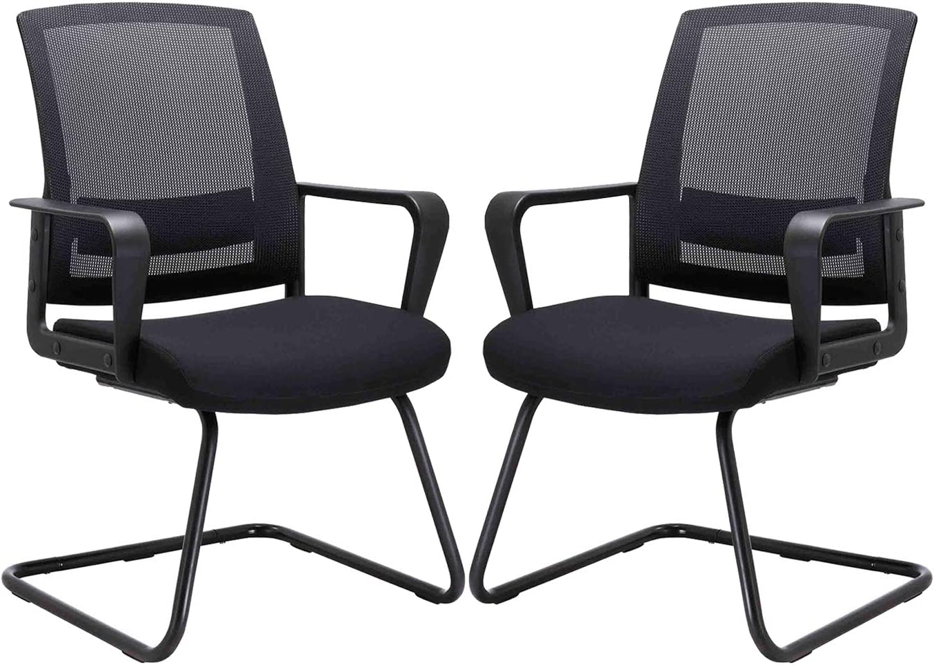 CLATINA Office Guest Chair with Lumbar Support and Mid Back Mesh Space Air Grid Series for Reception Conference Room 2 Pack