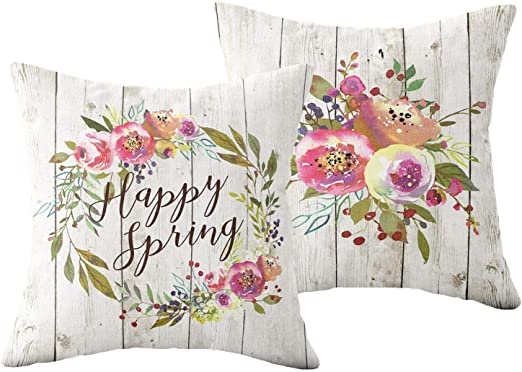 Floral Sofa Throw Pillowcase Cotton Linen Cushion Cover Wedding Gift Home Decor