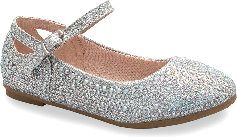 Toddler//Little Girl Olivia K Girls Sparkly Ballet Rhinestone Flats