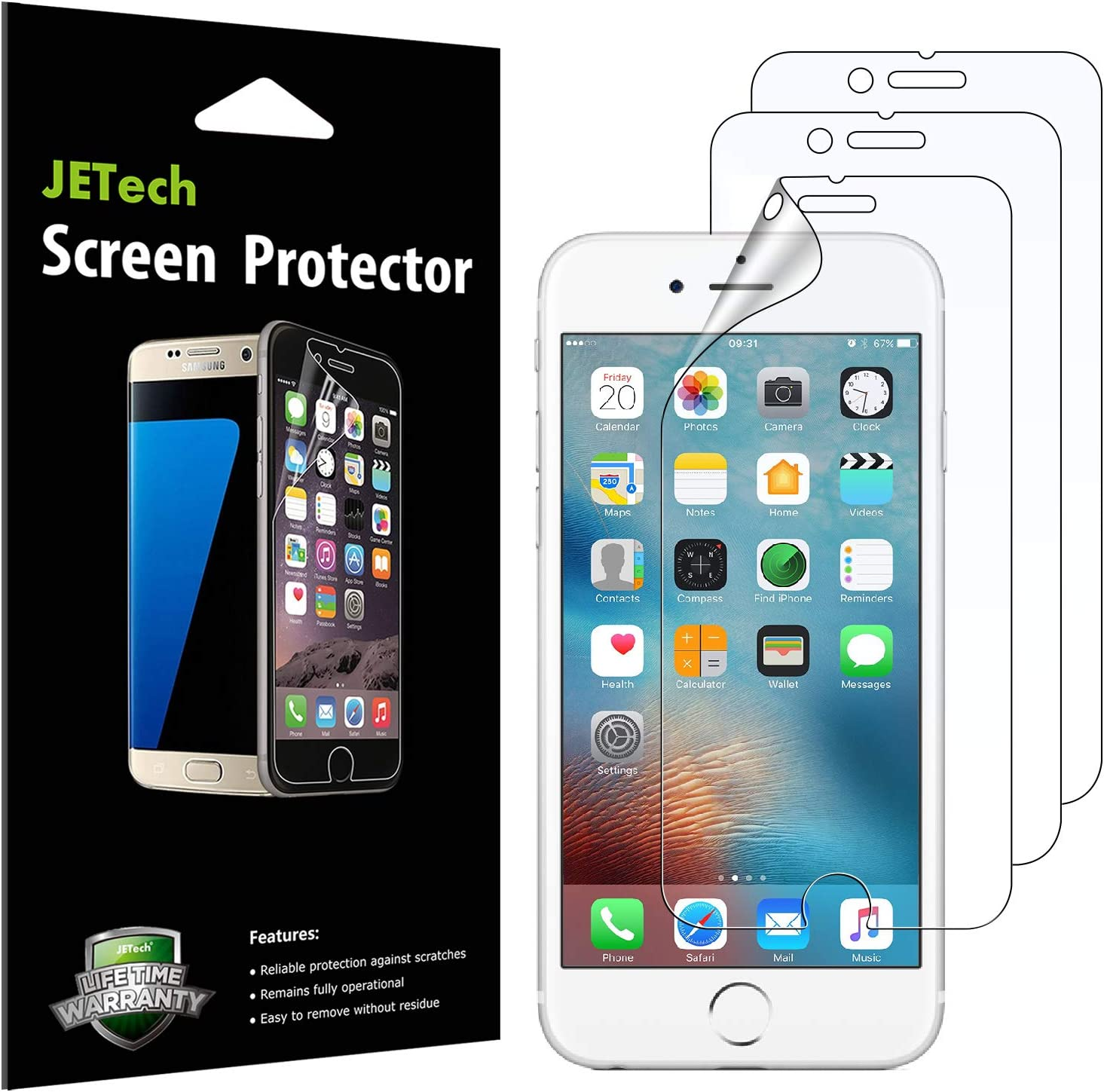 JETech Screen Protector for iPhone 6s and iPhone 6, PET Film, 3-Pack