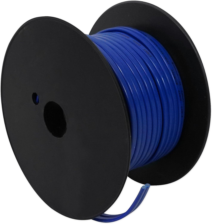 Rockville R14G75MS-BL Blue 75 Foot Spool Marine//Boat 14 AWG Speaker Wire