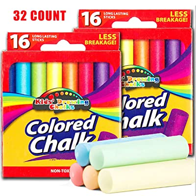 32-Piece Sidewalk Chalk for Kids - 7 Assorted Colors Washable Sidewalk Chalk Non Toxic Less Breakage Chalk for Home and School, Gift for Children: Office Products