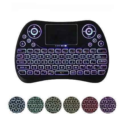 KOBWA Teclado inalámbrico con touchpad ratón, Mini Teclado Remoto con retroiluminación LED 2.4 GHz Recargable