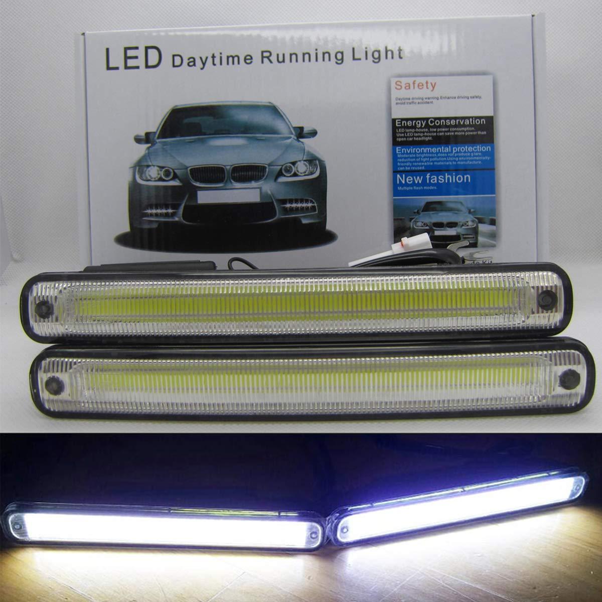 6000K Wei/ß DC 12V dimmbare Tagfahrleuchten VAWAR COB LED Tagfahrlicht mehr als ECE R87