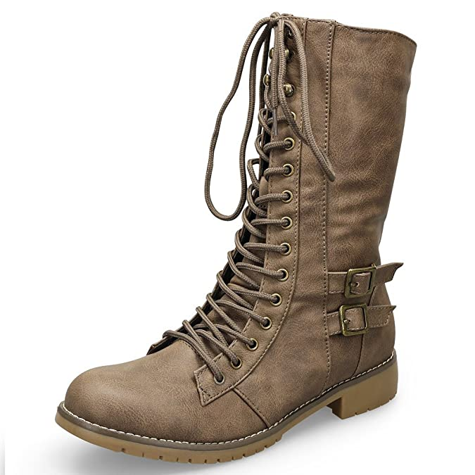 Mode Queen Schnürboots-Khaki-36 5BLS18XP