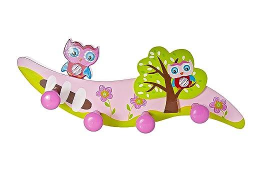 Mousehouse Gifts Perchero de Pared de Madera con Cuatro Ganchos percheros de Pared Infantil Decorado con búho para la habitación de niñas y bebés