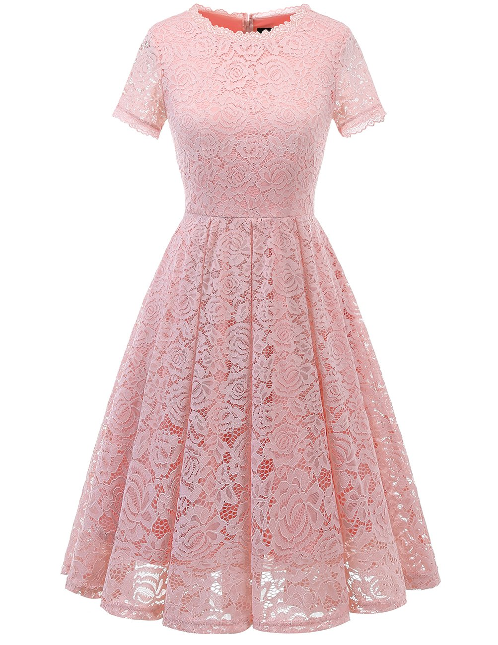 DRESSTELLS Women's Homecoming Vintage Tea Dress Floral Lace Cocktail Formal Swing Dress Blush XL by DRESSTELLS