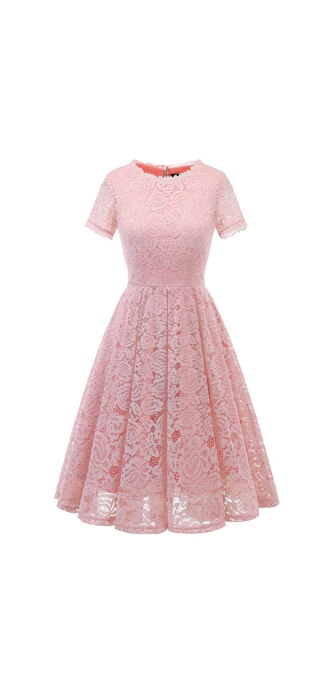 Women's Bridesmaid Elegant Tea Dress Floral Lace